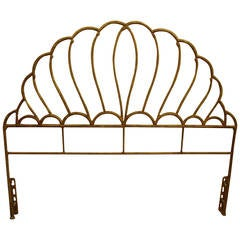 Lovely Faux Bamboo Gilt Iron Bed Headboard