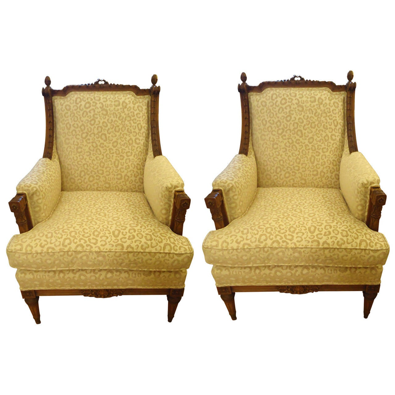 Pair Of Big Comfy French Walnut Bergere Chairs With Animal