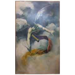 Monumental Romantic Oil on Canvas of Eros