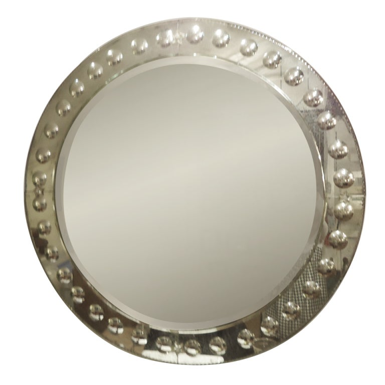 Very large round modern circle motiffe mirror at 1stdibs for Huge circle mirror