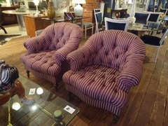 Pair of Sumptuous Striped Tufted Club Chairs