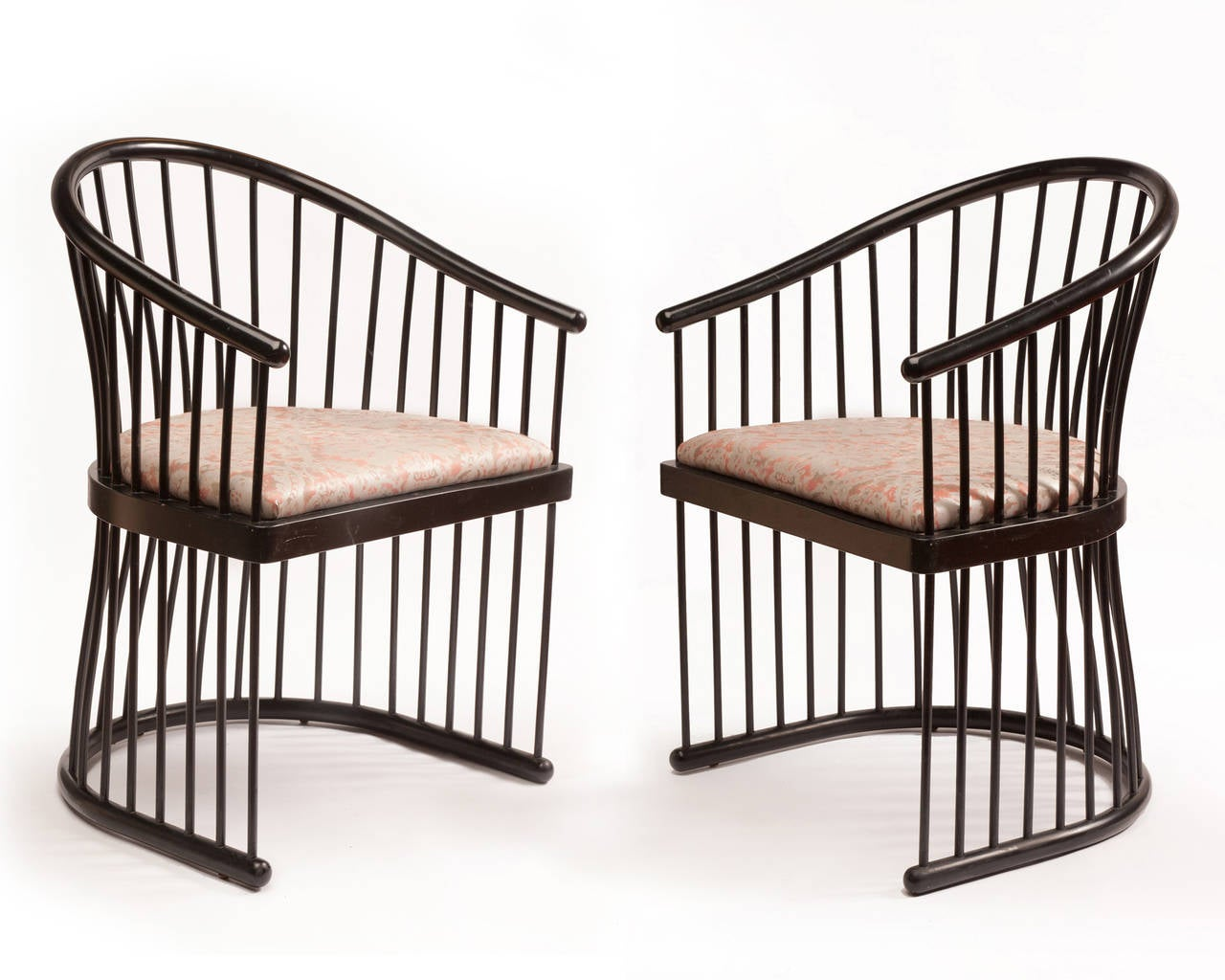 rare pair of jack lenor larsen black lacquer armchairs at. Black Bedroom Furniture Sets. Home Design Ideas