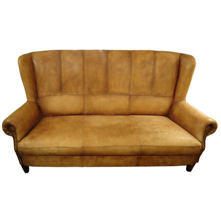 Stunning Distressed Leather Belgian High Back Sofa At 1stdibs
