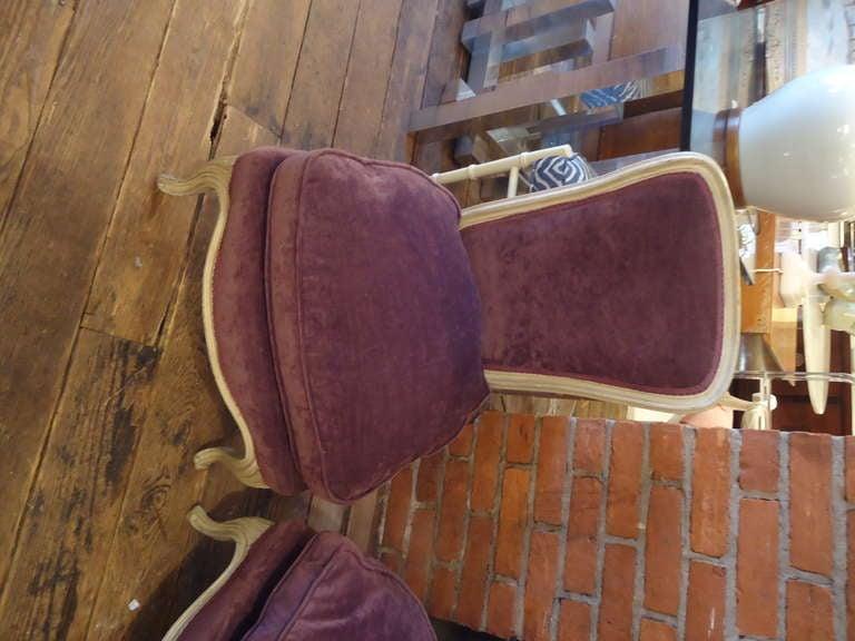 Very Romantic Aubergine Velvet Low Slung Slipper Chairs At