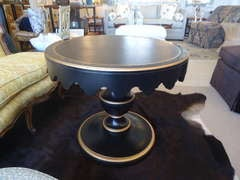 Dorothy Draper for Kindle Black Ebonized and Gold Round Table