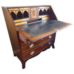 George III Mahogany and Satinwood Slant Front Desk