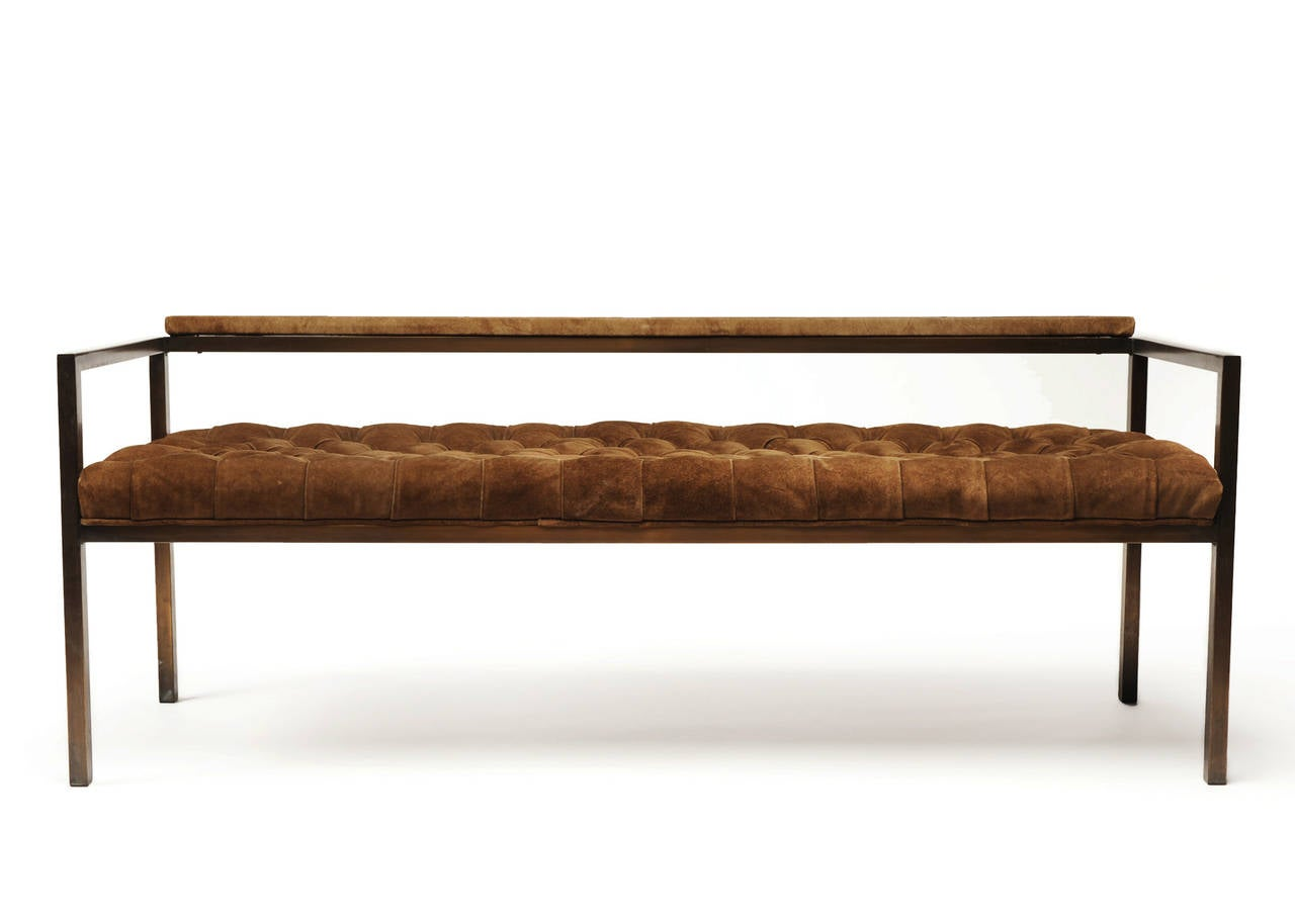 Milo Baughman Bronze And Suede Tufted Bench Loveseat At