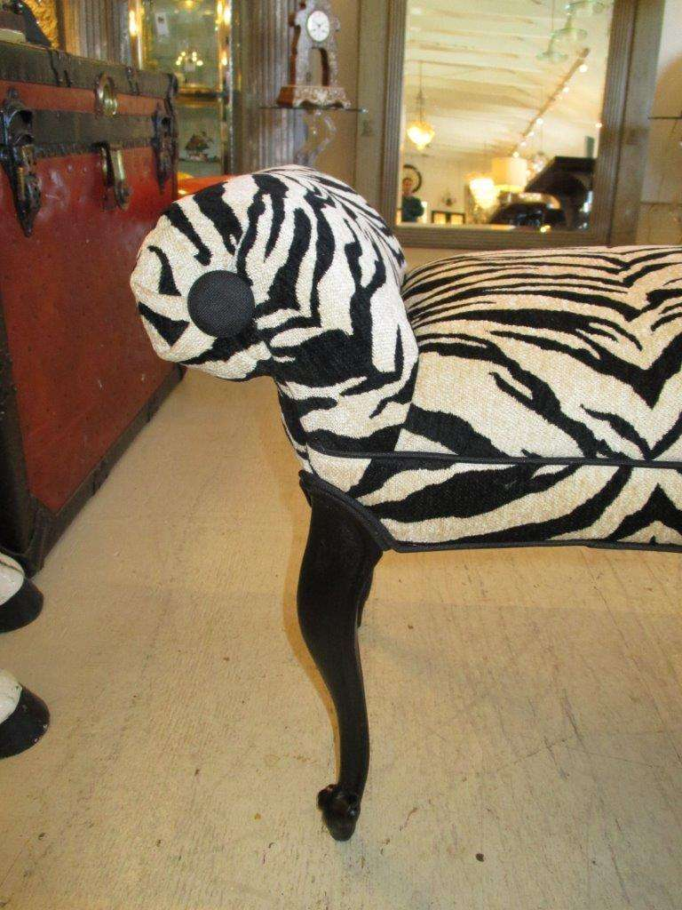 Zebra Stripe Hollywood Regency Style Bench At 1stdibs