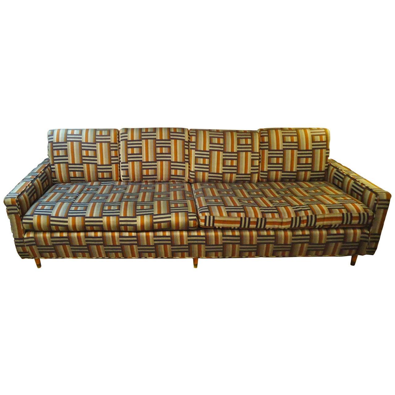 Mid Century Modern Geometric Pattern Sofa At 1stdibs