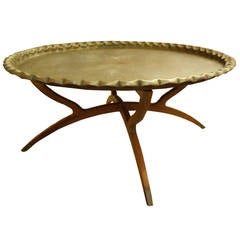 Etched Brass Tray Top Coffee Table with Danish Modern Base