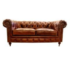 Small Leather Chesterfield Sofa