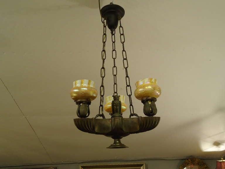 Shop Good Earth Lighting Metropolitan 3 Light Bronze: Antique Bronze Light Fixture With Owl At 1stdibs