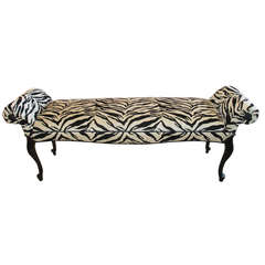 Zebra Stripe Hollywood Regency Style Bench