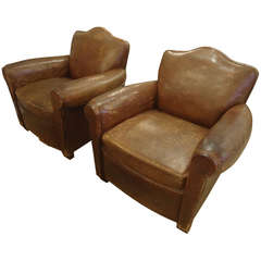 French Art Deco Distressed Leather Club Chairs