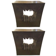 Pair of Organic Ebonized Wood Drinks Tables