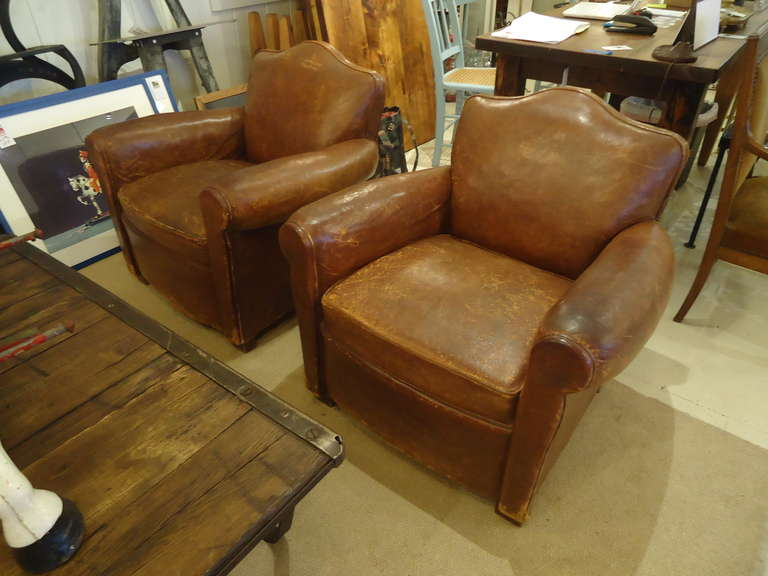 French art deco distressed leather club chairs at 1stdibs