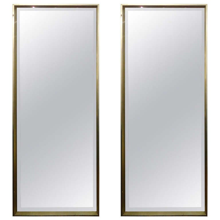 Sleek pair of modern tall bevelled mirrors in silver leaf for Tall framed mirror