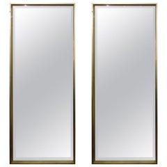Sleek Pair of Modern Tall Bevelled Mirrors in Silver Leaf Frame