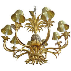 Glamorous Large Gilt Metal Pineapple Chandelier
