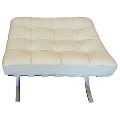 Barcelona White Leather and Chrome Ottoman