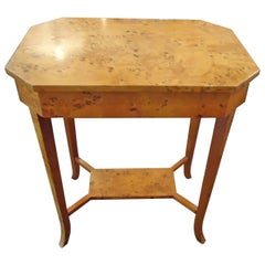 Fruitwood Burl End Table or Nightstand with One Drawer