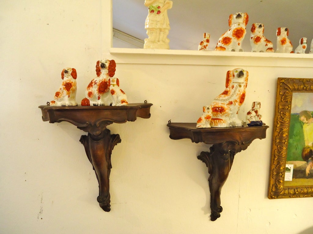 Pair of Antique Carved Wood Wall Brackets at 1stdibs