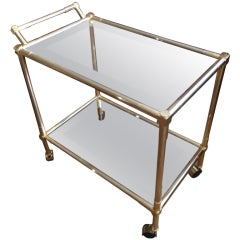 Schnazzy Vintage Brass Bar Cart