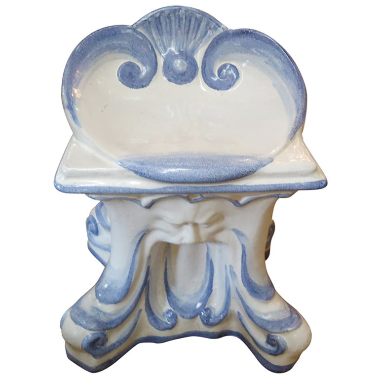 Superb Very Special Vintage Italian Glazed Terracotta Garden Stool Pabps2019 Chair Design Images Pabps2019Com