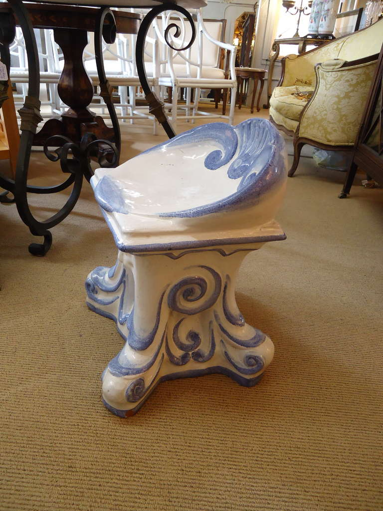 Surprising Very Special Vintage Italian Glazed Terracotta Garden Stool Pabps2019 Chair Design Images Pabps2019Com