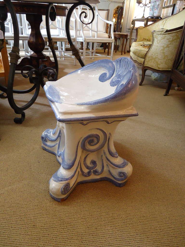 Darling Vintage Italian Glazed Terracotta Garden Stool For
