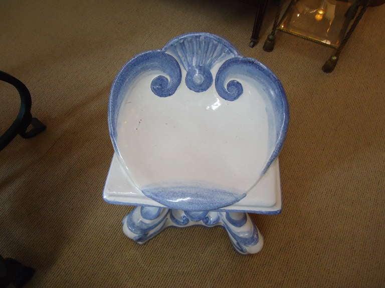 Darling Vintage Italian Glazed Terracotta Garden Stool For Sale 1