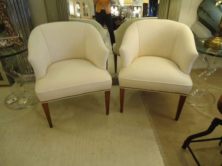 Wonderfully Elegant, Simple Lines And Newly Recovered In Off White Duck.  Matte Brass Nailheads
