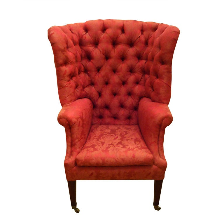 Attirant Regal Antique Tufted High Back Tub Chair For Sale