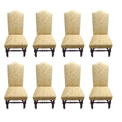 8 Classic Upholstered Dining Chairs with Mahogany Turned Legs