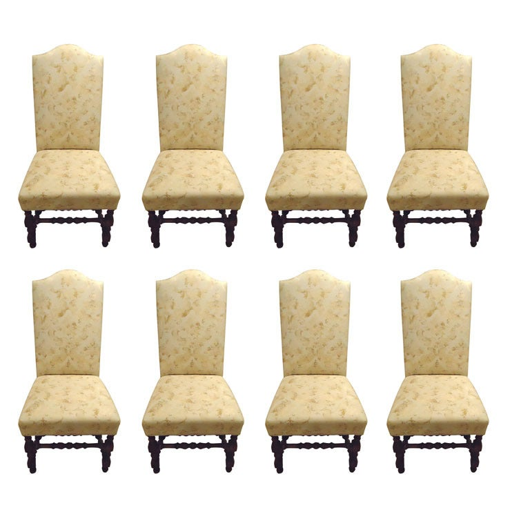 8 classic upholstered dining chairs with mahogany turned for Upholstered dining chairs with black legs