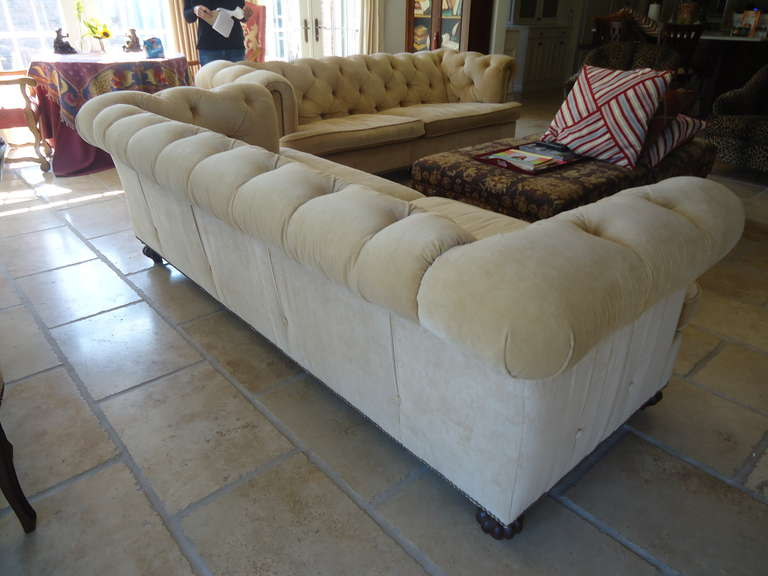 Pair Of Large Sumptuous Custom Corduroy Chesterfield Sofas At 1stdibs