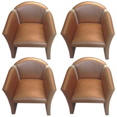 Four Custom Leather and Wood Barrel Back Chairs