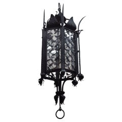 Hollywood Regency Style Large Iron Lantern Chandelier