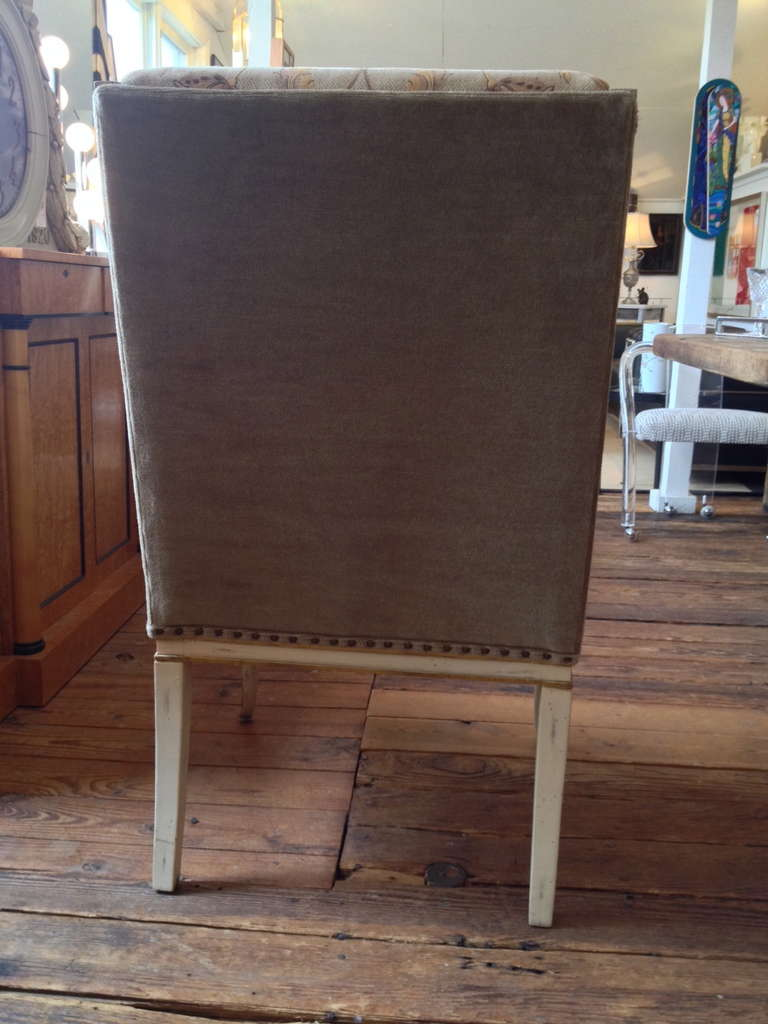 4 Sublimely Upholstered Painted And Carved Wooden Dining Chairs At 1stdibs