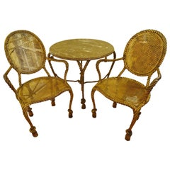 Italian Gilt Iron Round Table and Chairs with Rope and Tassel Motief