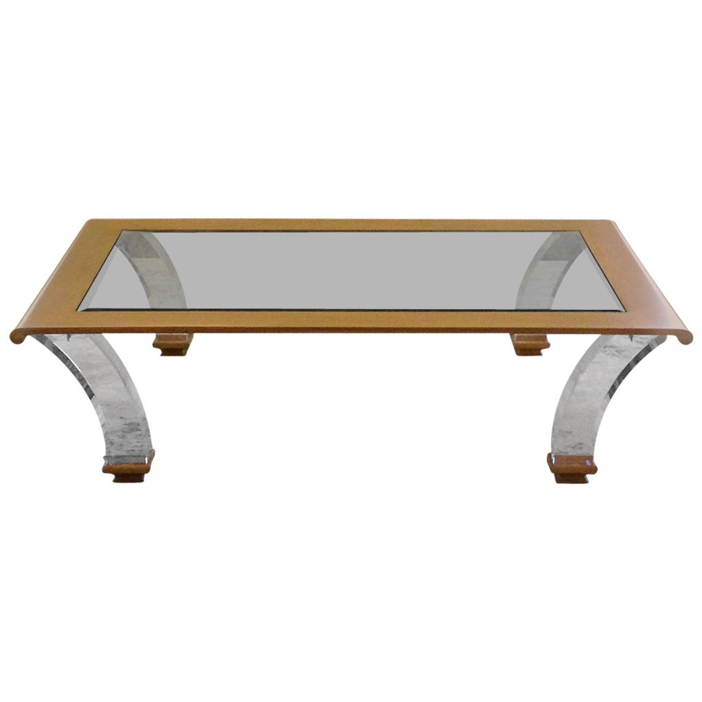 Gigantic Lucite And Beechwood Coffee Table At 1stdibs