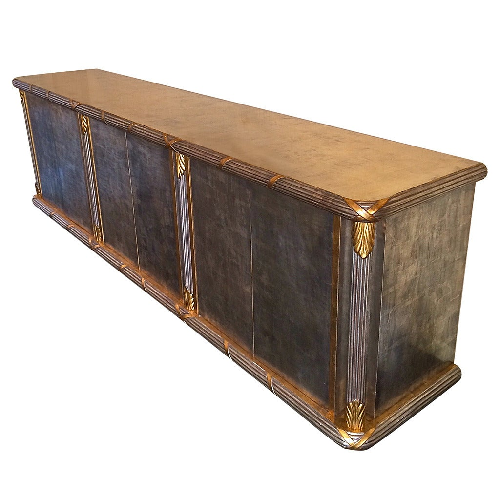 Very long silver and gold leaf hollywood regency sideboard for Sideboard gold
