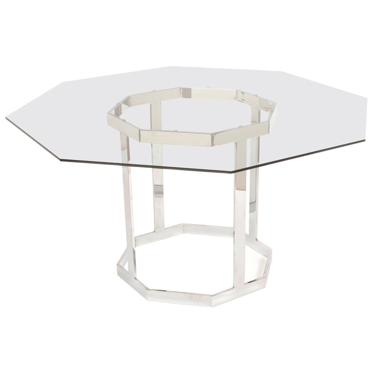 Milo Baughman Style Chrome Octagon Dining Table At 1stdibs