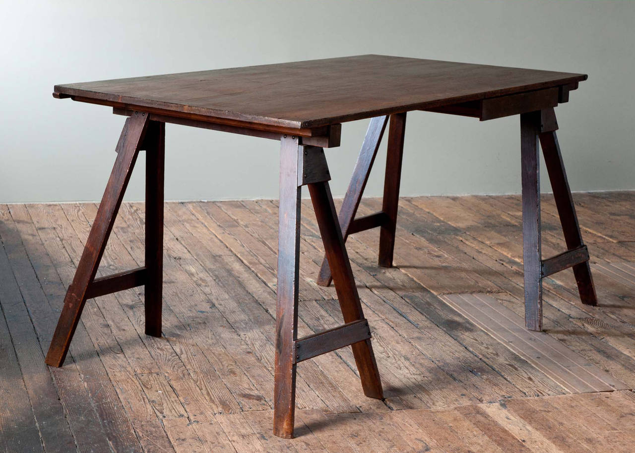 One of a kind custom bench made vintage architect\u0027s work desk on sawhorse style legs. & Beautiful Wooden Architect Desk at 1stdibs