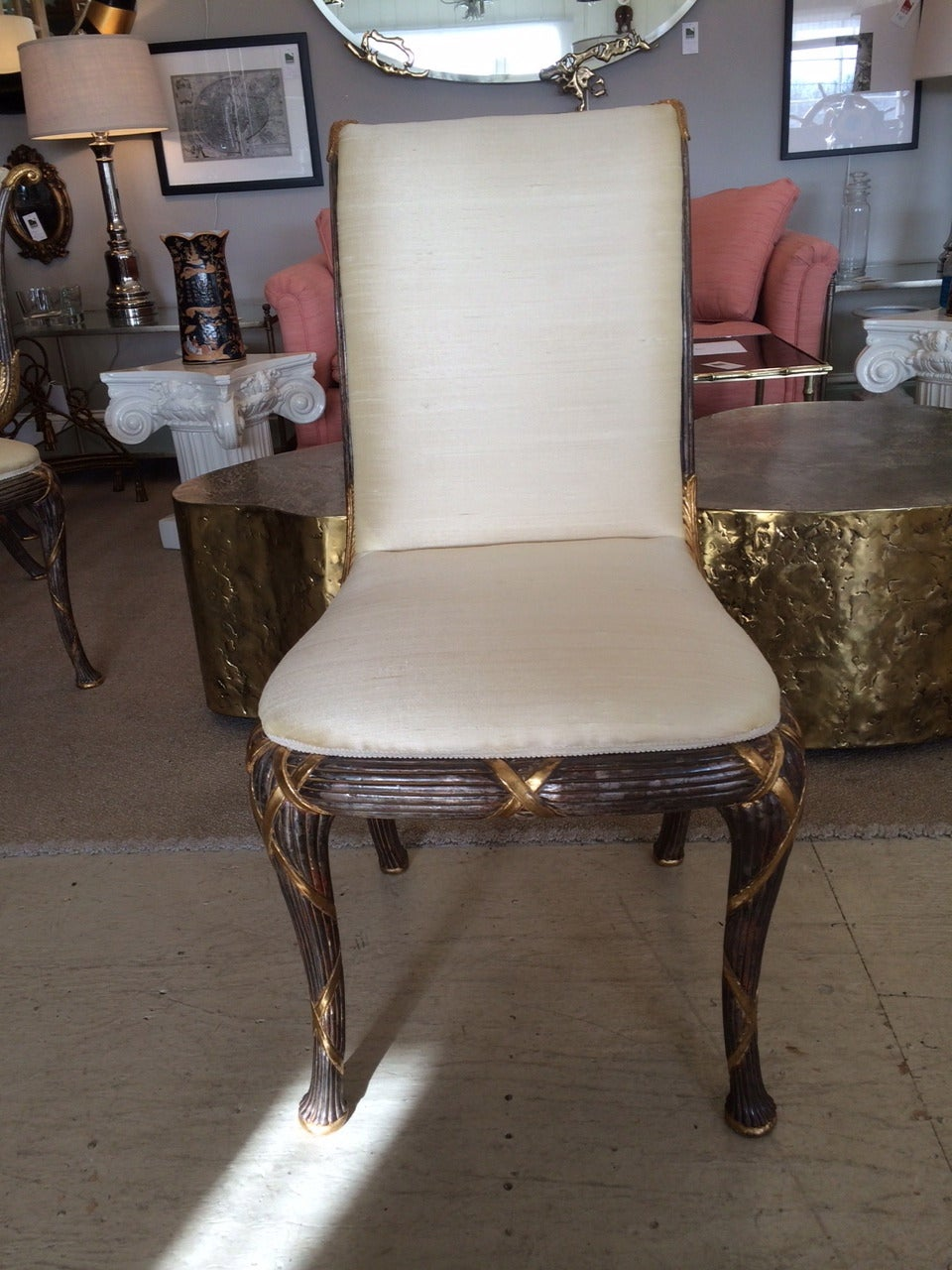 Set of eight elegant hollywood regency dining chairs at 1stdibs for Regency furniture living room sets