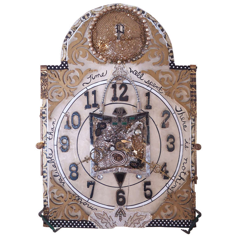 Mixed-Media Collage on Vintage Clock For Sale at 1stdibs
