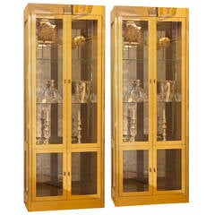 Pair of Chic Brass Mastercraft Vitrine Cabinets