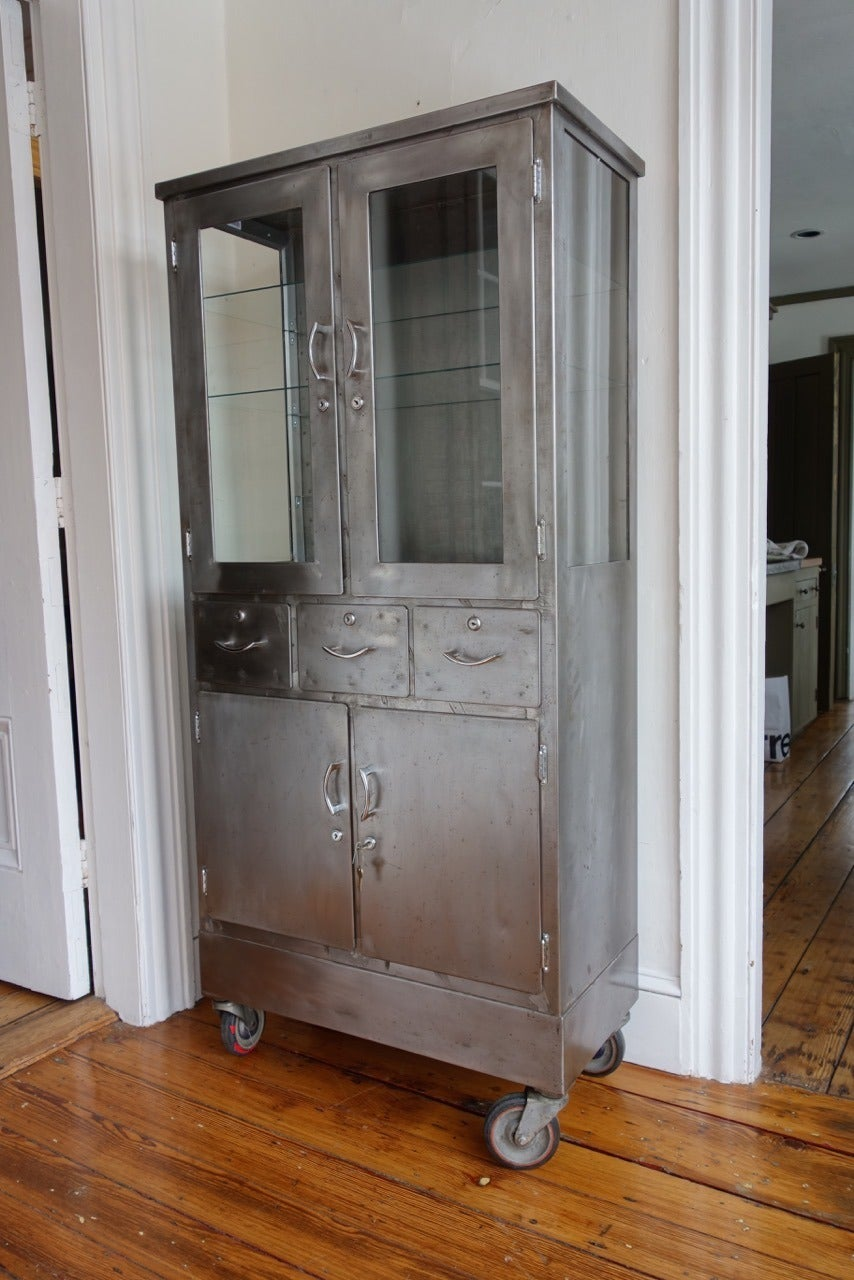 mid century steel and glass medicine cabinet at 1stdibs