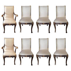Set of Eight Elegant Hollywood Regency Dining Chairs