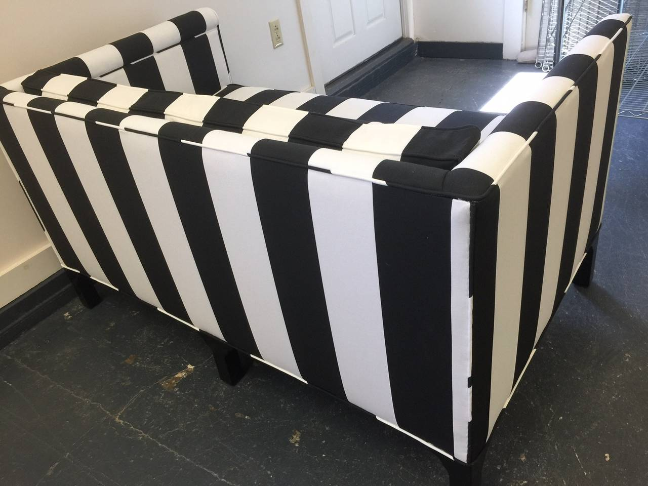 Chic Updated Vintage Black And White Striped Loveseat At 1stdibs